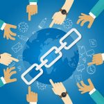 link building seo search engine optimization world connect hands blue vector