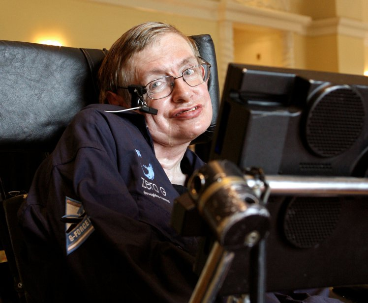 PHOTO: British physicist Stephen Hawking answers questions during an interview in Orlando, Florida April 25, 2007. REUTERS/Charles W Luzier/File Photo